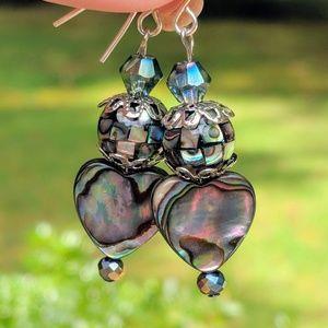 Handmade earrings with Abalone heart. Silver